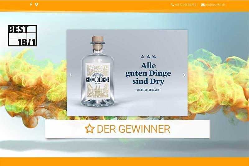 Screenshot der best 18/1-Website mit dem Gewinnermotiv von Gin De Cologne