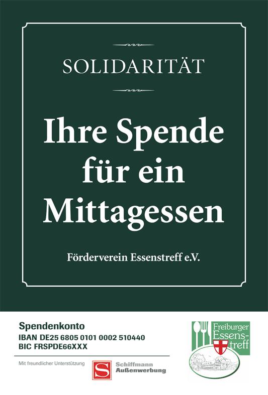 Plakatmotiv Essenstreff Freiburg, gefördert von Schiffmann